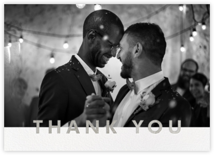 Field of Thanks Photo (Double-Sided) - Silver - Paperless Post - Online Thank You Cards