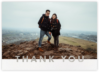 Field of Thanks Photo (Double-Sided) - Silver - Paperless Post - Wedding thank you notes