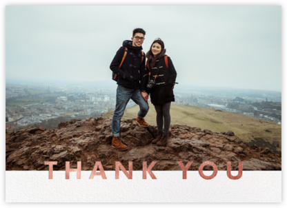 Field of Thanks Photo (Double-Sided) - Rose Gold - Paperless Post - Wedding thank you cards