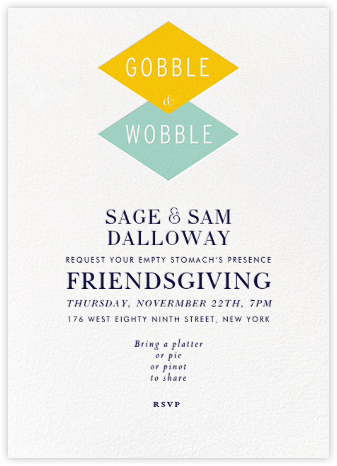 Gobble and Wobble - Crate & Barrel - Thanksgiving invitations
