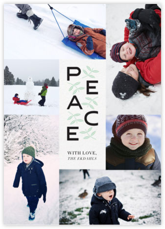 Leaves of Peace (Tall) - Paperless Post - Holiday Cards