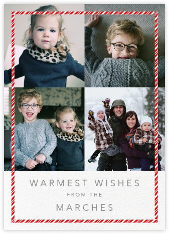 Candy Cane Frame (Tall Multi-Photo) - Paperless Post - Photo Christmas cards