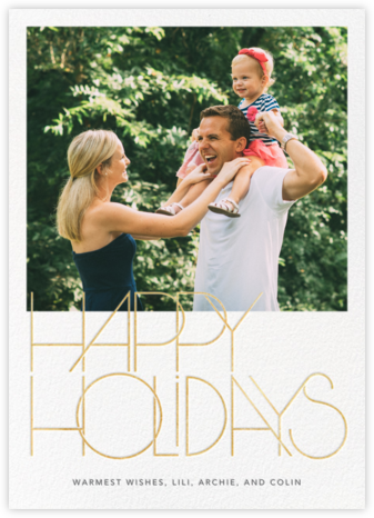 Avant-Garde Holiday (Tall) - Gold - Paperless Post - Holiday cards