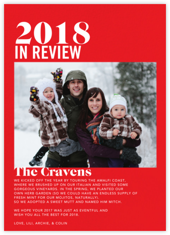 In Review - Red - Paperless Post - New Year cards