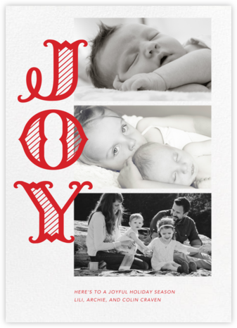 Joyful Stripes (Multi-Photo) - Paperless Post - Holiday Cards