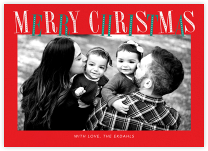 Jaunty Christmas (Horizontal) - Red - Paperless Post - Photo Christmas cards