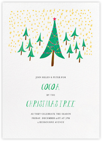 Glittery Tree in the Christmas Forest (Invitation) - Mr. Boddington's Studio - Mr. Boddington's Studio Holiday