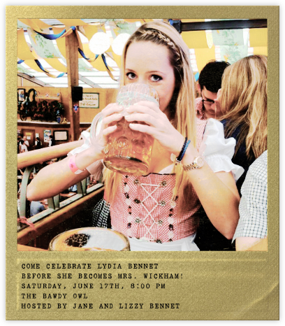 Snapshot Gold - Square - Paperless Post - Bachelorette party invitations