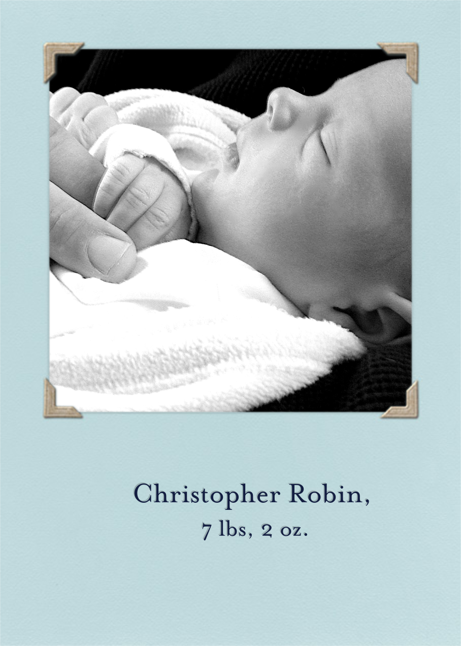 Photo Corners Album (Light Blue inserts) - Tall - Paperless Post - Birthday - insert front