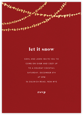 Streamer Shapes (Tall) - Crimson/Gold - Paperless Post - Winter entertaining invitations