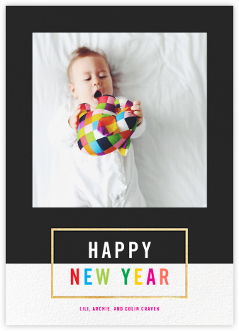 Bright and Bold - Caviar/Gold - Paperless Post - New Year Cards