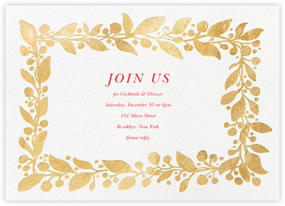 Hedera (Invitation) - Gold - Linda and Harriett - Holiday invitations