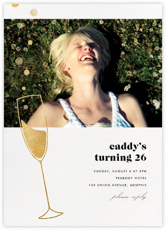 Champagne Bubbles (Photo) - Gold - Paperless Post - Adult birthday invitations