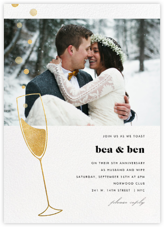 Champagne Bubbles (Photo) - Gold - Paperless Post - Anniversary party invitations