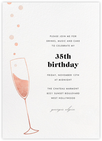 Champagne Bubbles - Rose Gold - Paperless Post - Adult Birthday Invitations