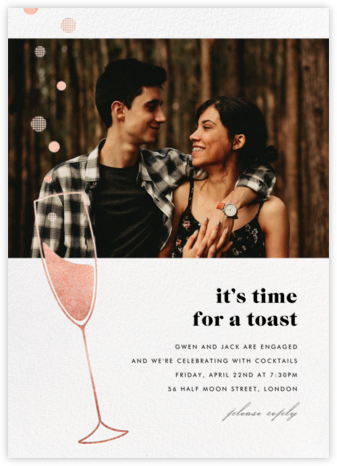 Champagne Bubbles (Photo) - Rose Gold - Paperless Post - Engagement party invitations