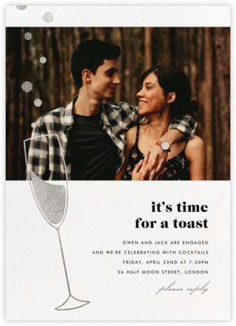 Champagne Bubbles (Photo) - Silver - Paperless Post - Engagement party invitations