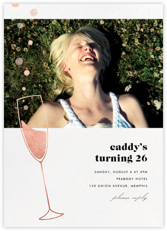 Champagne Bubbles (Photo) - Rose Gold - Paperless Post - Birthday invitations