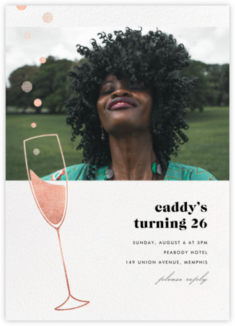 Champagne Bubbles (Photo) - Rose Gold - Paperless Post - Adult Birthday Invitations