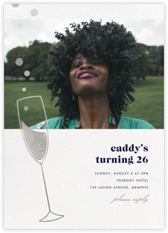 Champagne Bubbles (Photo) - Silver - Paperless Post - Adult Birthday Invitations