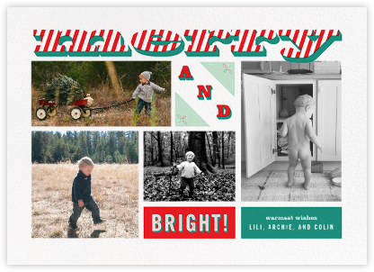 Merry and Striped (Multi-Photo) - Paperless Post - Holiday Cards
