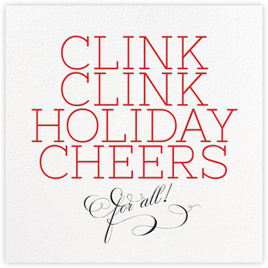 Clink Holiday Cheers - Red - bluepoolroad - bluepoolroad invitations and cards