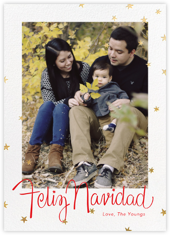 Starlight Navidad (Tall) - Gold - Paperless Post - Photo Christmas cards