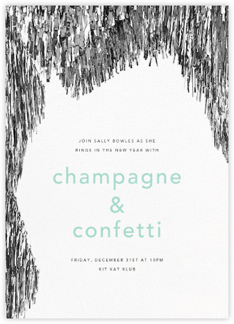Flash - Silver - CONFETTISYSTEM - New Year's Eve Invitations
