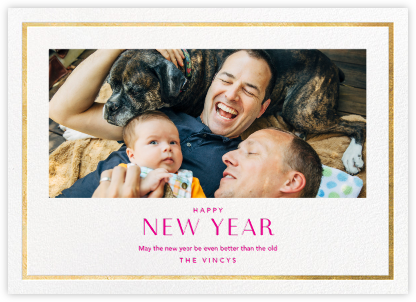 New Year Finestra (Horizontal) - White/Gold - Paperless Post - New Year Cards