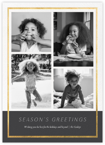 Panneaux (Multi-Photo) - Slate/Gold - Paperless Post - Holiday Cards