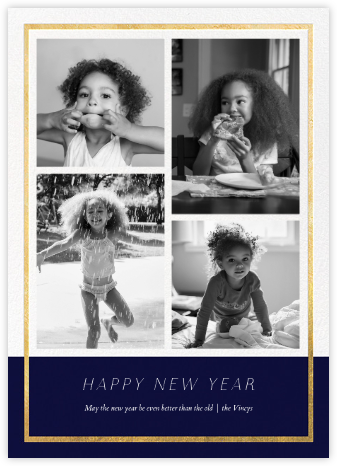 Panneaux (Multi-Photo) - Midnight/Gold - Paperless Post - New Year Cards
