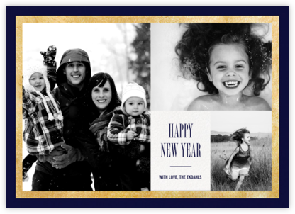 Bordure - Midnight/Gold - Paperless Post - New Year Cards
