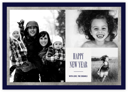 Bordure - Midnight/Silver - Paperless Post - New Year Cards