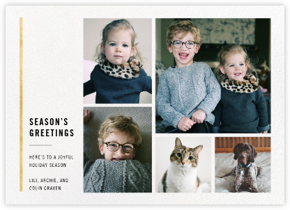 Carreaux (Multi-Photo) - White/Gold - Paperless Post - Holiday Cards