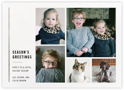 Carreaux (Multi-Photo) - White/Silver - Paperless Post - Holiday Cards
