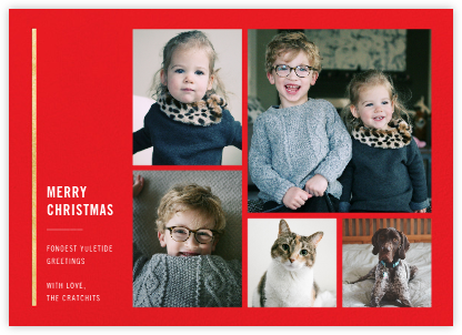 Carreaux (Multi-Photo) - Red/Gold - Paperless Post - Christmas Cards