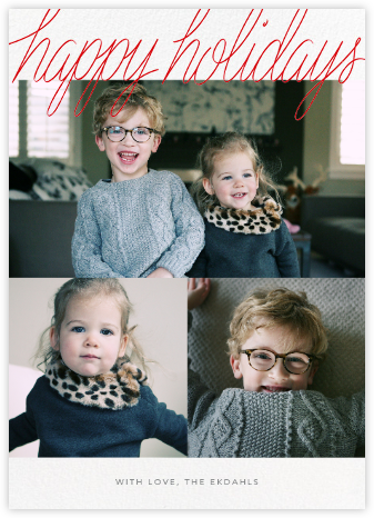 Handwritten Holiday (Tall Multi-Photo) - Paperless Post - Holiday Cards