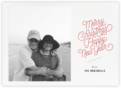 Merry and Happy (Photo) - Red - bluepoolroad - bluepoolroad invitations and cards