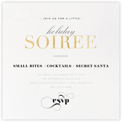Holiday Soiree - Gold - bluepoolroad - Holiday party invitations