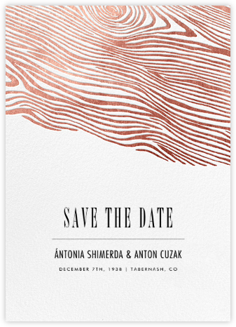 Burlwood II (Tall Save the Date) - Rose Gold - Paperless Post - Before the invitation cards
