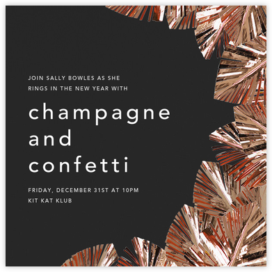 Shimmer - Caviar/Copper - CONFETTISYSTEM - New Year's Eve Invitations