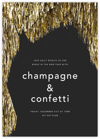Flash - Caviar/Gold - CONFETTISYSTEM - New Year's Eve Invitations