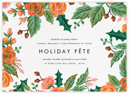 Jardin Noel Border - White - Rifle Paper Co. - Professional party invitations and cards