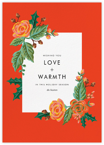 Jardin Noel Flourish - Red - Rifle Paper Co. - Holiday Cards
