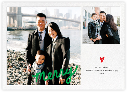 Merry Little Heart - Green - Paper + Cup - Holiday photo cards