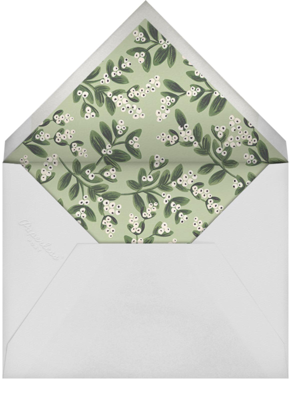 Mistletoe Accent Flourish (Landscape Photo) - Spruce - Rifle Paper Co. - Holiday cards - envelope back