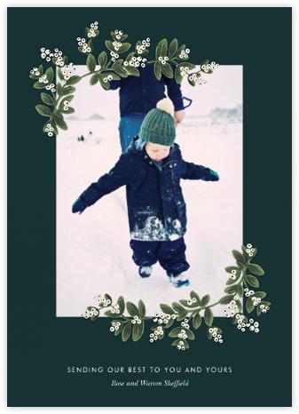 Mistletoe Accent Flourish (Portrait Photo) - Spruce - Rifle Paper Co. - Christmas cards