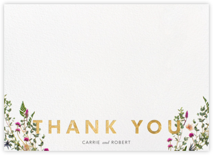 Fleurs Sauvages Thanks - Gold - Paperless Post - Wedding thank you cards