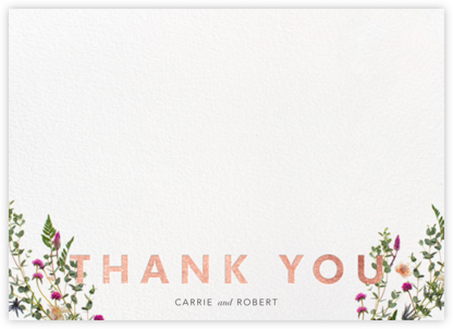 Fleurs Sauvages Thanks - Rose Gold - Paperless Post - Wedding thank you notes