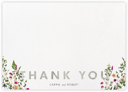Fleurs Sauvages Thanks - Silver - Paperless Post - Wedding thank you notes